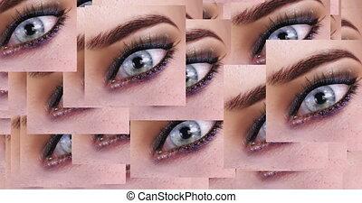 yeux, animation, apparaître, quantité, numérique