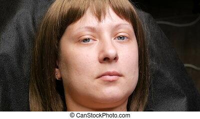 yeux, après, femme, jeune, récemment, eyelashes., figure, a,...