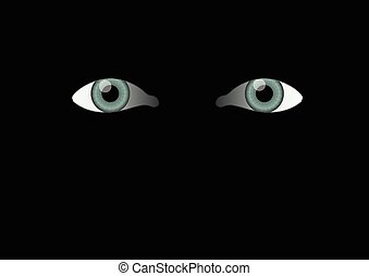 yeux, arrière-plan noir, mal