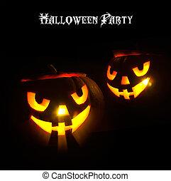 yeux, art, halloween, incandescent, conception, fête, citrouille