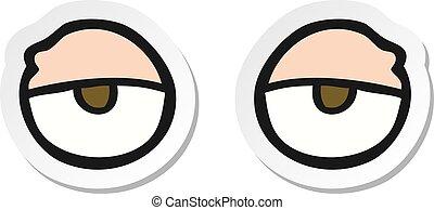 yeux, autocollant, dessin animé, fatigué