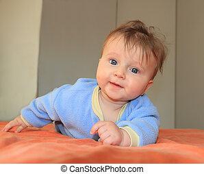 yeux, bleu, bébé, adorable, quatre