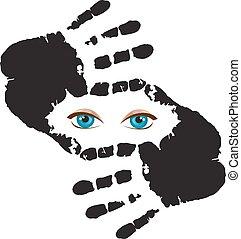 yeux bleus, cadre, isolé, regarder travers, fond, mains, vous, blanc