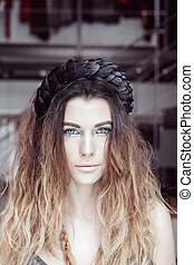 yeux bleus, femme, clair, maquillage