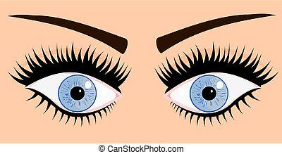 yeux bleus, femme