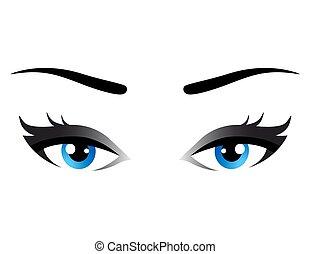 yeux bleus, femme, isolé