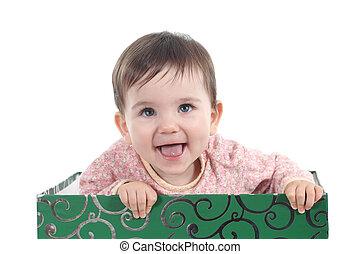yeux bleus, grand, haut, regarder, rire, bébé