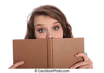 yeux bleus, livre, adolescent, lecture fille