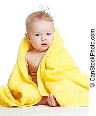 yeux bleus, serviette, coloré, bébé, adorable, heureux