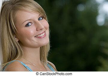 yeux bleus, sourire, &