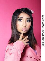 yeux, brunette, grand, attractiveness., asiatique, portrait, surpris