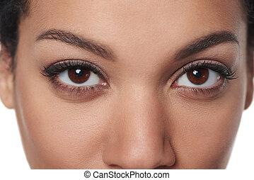 yeux bruns, image, tondu, closeup, femme