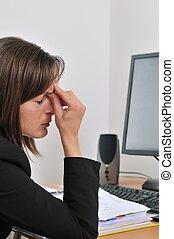 yeux, business, fatigué, travail, -, personne