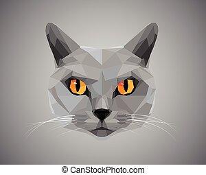 yeux, -, chat gris, polygonal, orange, style.