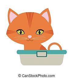 yeux, chat repos, orange, vert, petit, baignoire