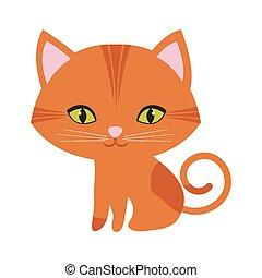 yeux, chat repos, orange, vert, petit