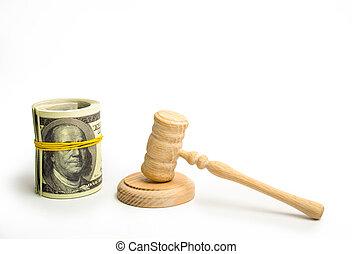 yeux, concept, billet banque, élastique, bois, franklin's, dollars, sphere., paquet, arrière-plan., band., judiciaire, juge, couvert, blanc, empaqueté, marteau, corruption