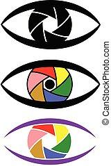 yeux, concept, ensemble, coloré, volet, appareil photo, icône