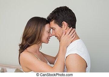 yeux, couple, fermé, vue, côté, aimer