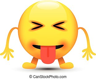 yeux, dehors, langue, fermé, emoji
