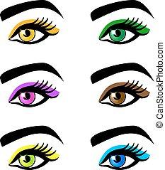 yeux, différent, formes, maquillage, femme, couleurs, collection, sans, sourcils