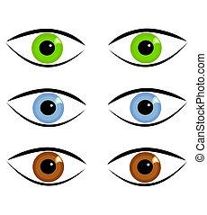 yeux, divers, couleurs