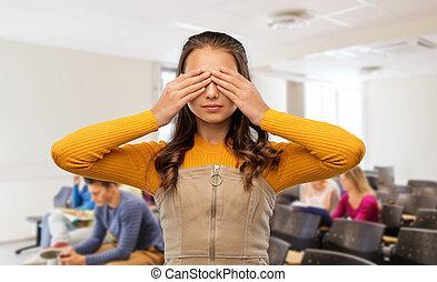 yeux, elle, mains, étudiant, fermer, girl, école