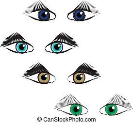 yeux, ensemble, couleurs, différent