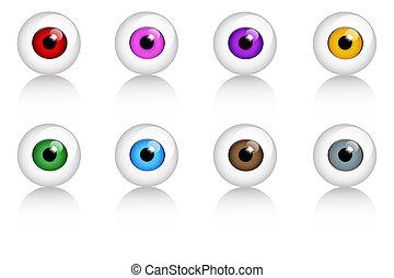 yeux, ensemble, couleurs, différent, humain