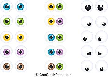 yeux, ensemble, dessin animé, googly