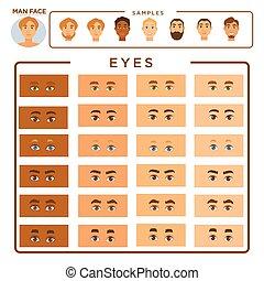 yeux, ensemble, figure, échantillons, constructeur, homme