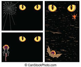 yeux, ensemble, halloween, -, trois, mal, cartes