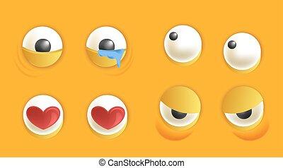 yeux, ensemble, humeur, smiley, différent, constructeur