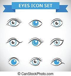 yeux, ensemble, icônes