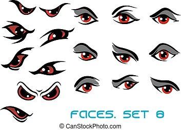 yeux, ensemble, monstre, danger, mal, aand, rouges