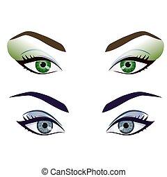 yeux, ensemble, réaliste, vecteur, femme, fronts, dessin animé