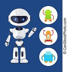 yeux, ensemble, robot, illustration, incandescent, vecteur