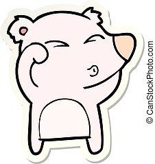 yeux, fatigué, frottement, ours, dessin animé, autocollant