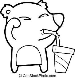 yeux, fatigué, frottement, ours, soude, boire, dessin animé