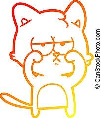 yeux, fatigué, gradient, frottement, chat, chaud, dessin ligne, dessin animé