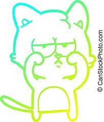 yeux, fatigué, gradient, frottement, ligne, chat, froid, dessin, dessin animé