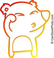 yeux, fatigué, gradient, frottement, ours, dessin, chaud, ligne, dessin animé