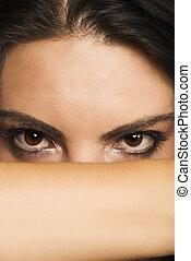 yeux, femme, beau