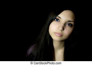 yeux, femme, brunette, jeune, triste