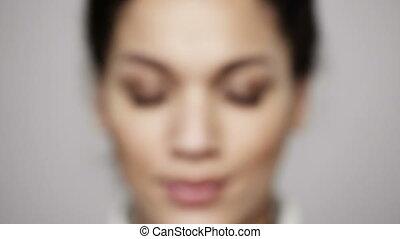 yeux, femme, elle, ouverture, zoom, jeune, closeup, appartenance ethnique africaine
