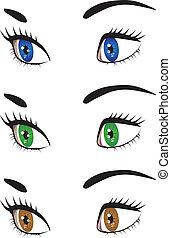 yeux, femme, ensemble