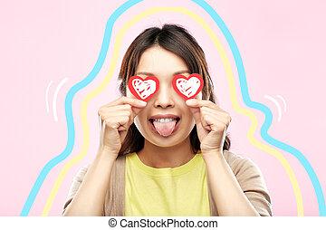 yeux, femme, heureux, cœurs