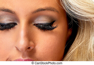 yeux, femme, maquillage