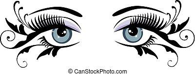 yeux, floral, bleu