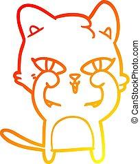 yeux, gradient, frottement, chat, chaud, dessin ligne, dessin animé